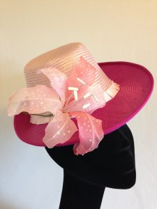Perched hat with silk lilies. By Lali Heath Millinery. Photo by Lali Heath